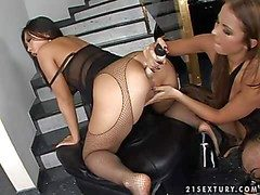 Arousing asian Bailey with arousing defend up roughly fishnet pantyhose