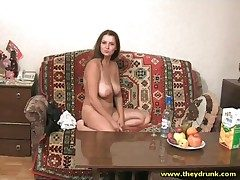 Tippler brunette gets naked increased by shows big ass