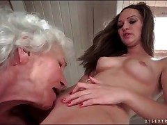 Grey haired granny eats out shaved young pussy