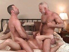 Three hot daddies in a gay anal 3some