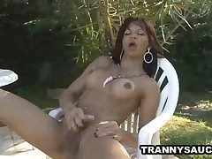Latina shemale stunner wanking on her man-meat outdoors