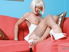 Sexy light-haired chick LilyWOW in thinnest vintage nylons