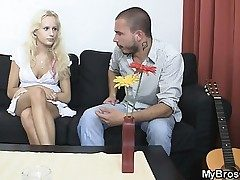 Blondie hoe cheats her BF with his bro