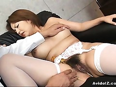 Chinese babe gets her haiy muff finger-tickled Uncensored