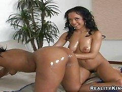Young hot pest ebony Misti Hallow with unproficient boobies and